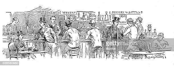 ilustrações, clipart, desenhos animados e ícones de ilustração antiga de bar/cafeteria - café bebida