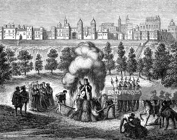 Antique illustration of public stake execution in Windsor