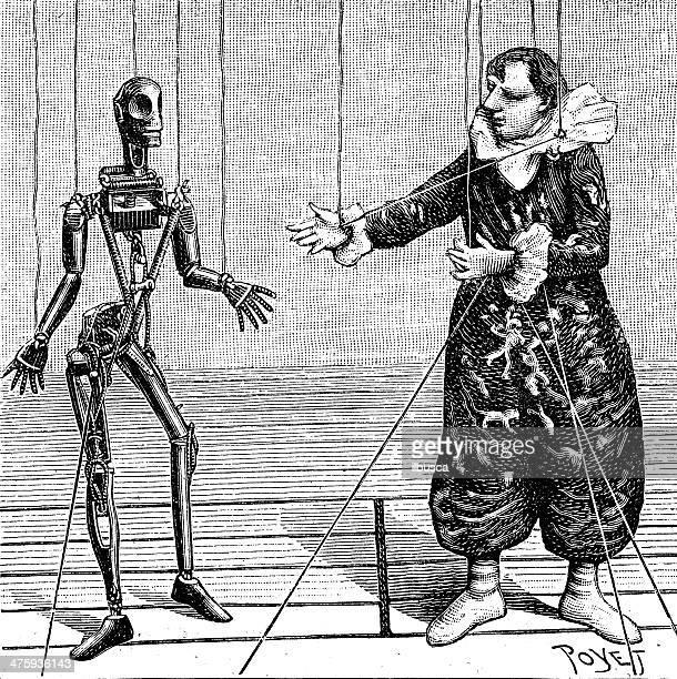 ilustraciones, imágenes clip art, dibujos animados e iconos de stock de marioneta ilustración de antigüedades de teatro - puppet