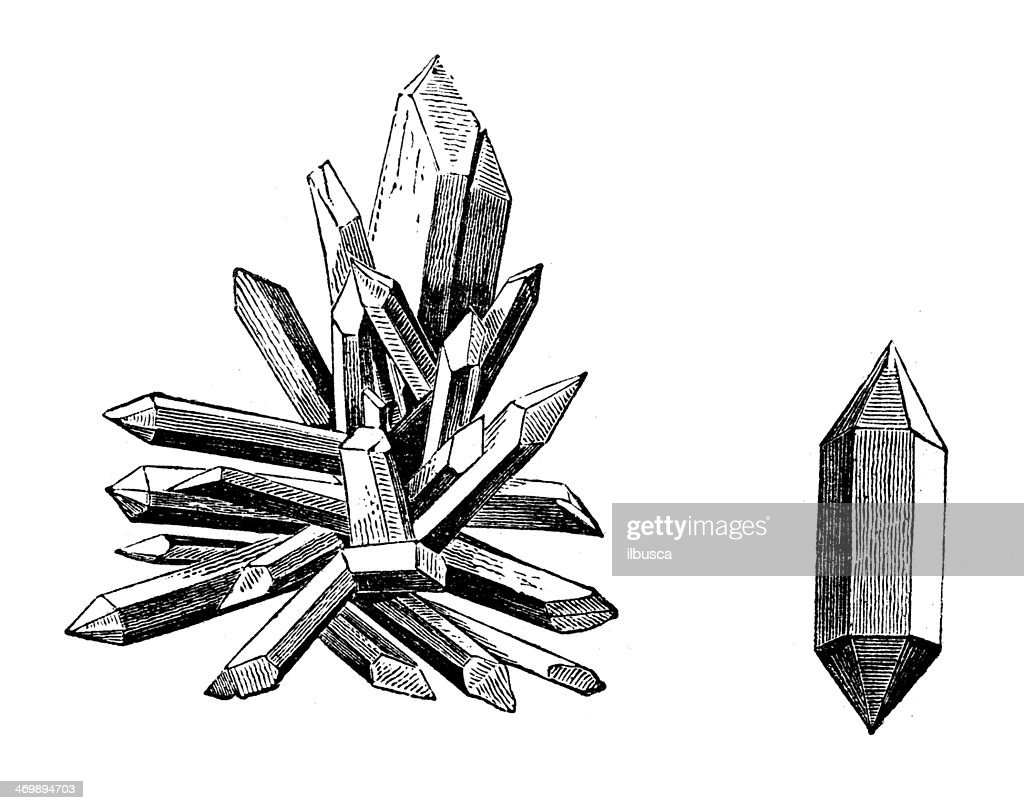 Antique illustration of quartz crystals : stock illustration