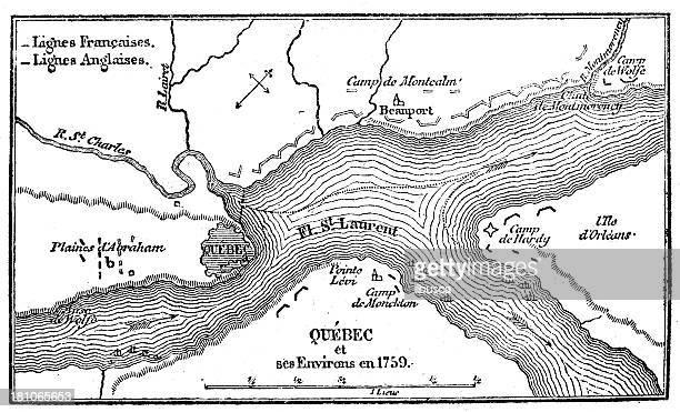 Antique illustration of Quebec map
