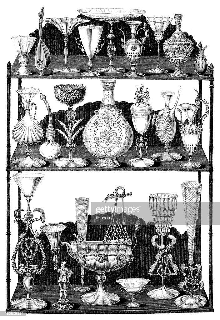 Antique Illustration Of Rare Vases Stock Illustration Getty Images