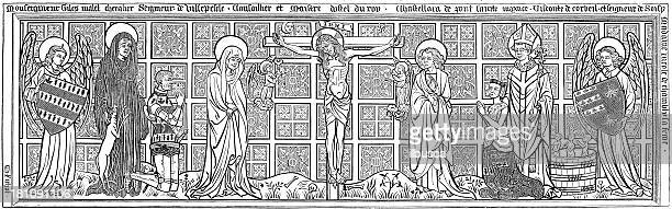antique illustration of religious engraving - the crucifixion stock illustrations, clip art, cartoons, & icons