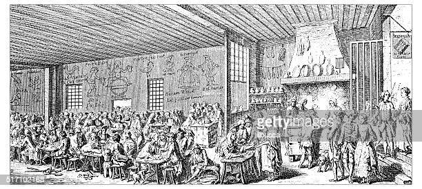 antique illustration of restaurant - nice france stock illustrations, clip art, cartoons, & icons