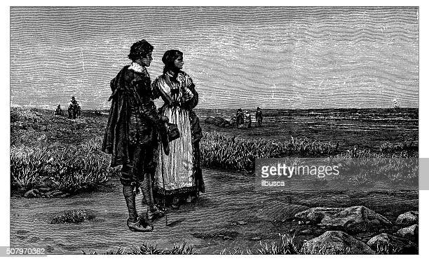 antique illustration of return of the mayflower to england - hawthorn,_victoria stock illustrations