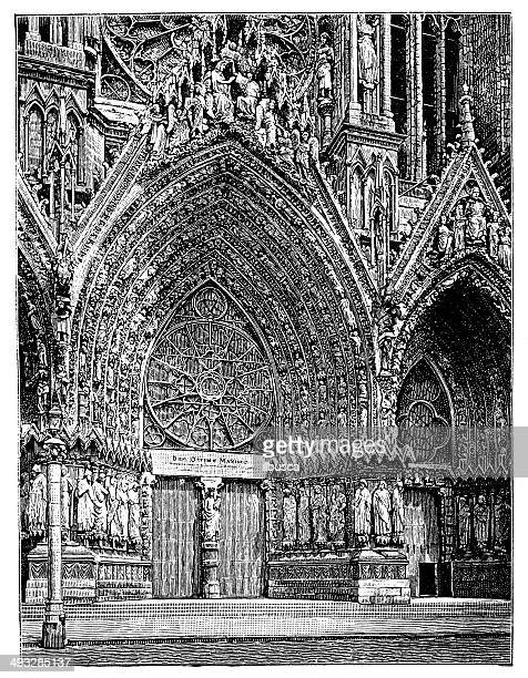 antique illustration of rheims cathedral - champagne region stock illustrations, clip art, cartoons, & icons