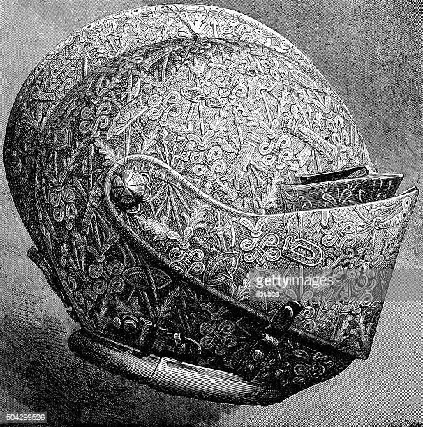 antique illustration of richly decorated tournament helmet - armory stock illustrations