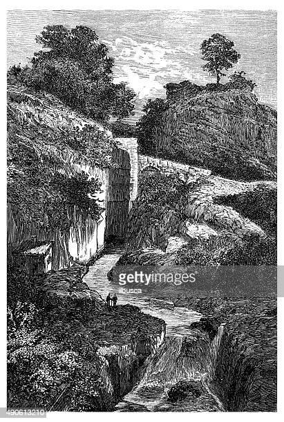 Antique illustration of river