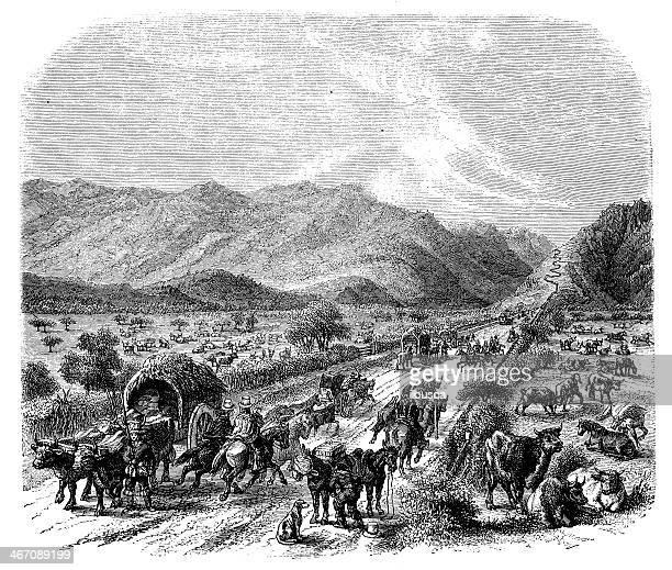 Antique illustration of road Valparaiso Santiago in Chile