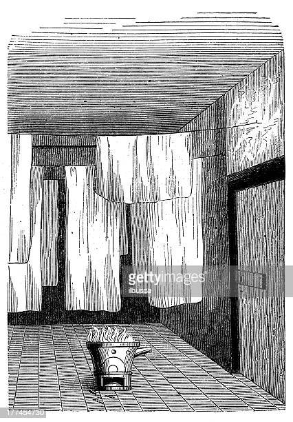 antique illustration of room for fabric whitening - blanket stock illustrations, clip art, cartoons, & icons