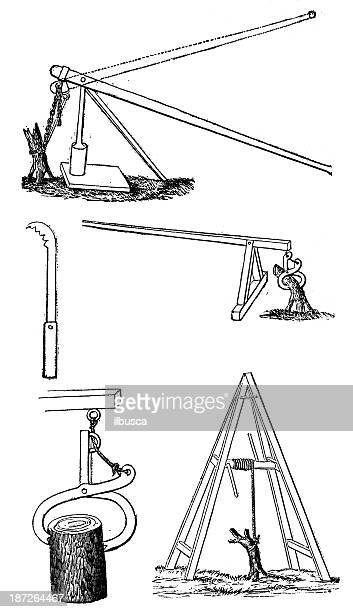 antique illustration of root and tree extractor machines - exhaust fan stock illustrations, clip art, cartoons, & icons