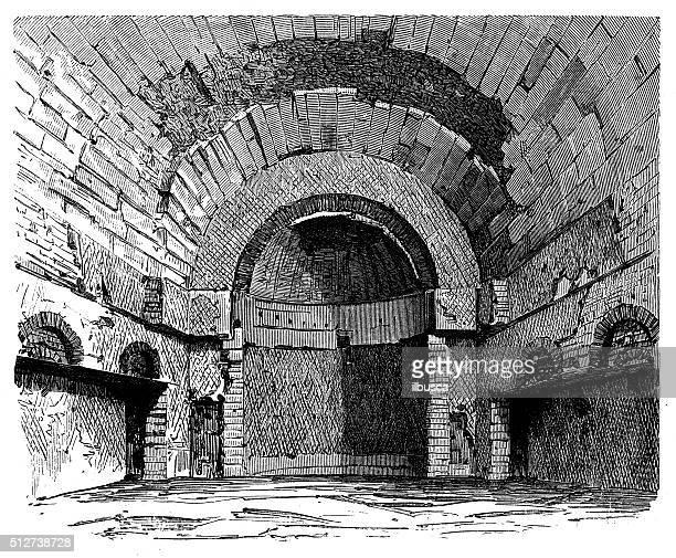 ilustrações de stock, clip art, desenhos animados e ícones de antigo ruínas da antiga ilustração de roman edifício (tivoli, itália - nicho