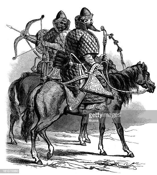 antique illustration of russian soldiers on horse - cavalier cavalry stock illustrations, clip art, cartoons, & icons
