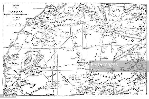 Antique illustration of Sahara map (French)
