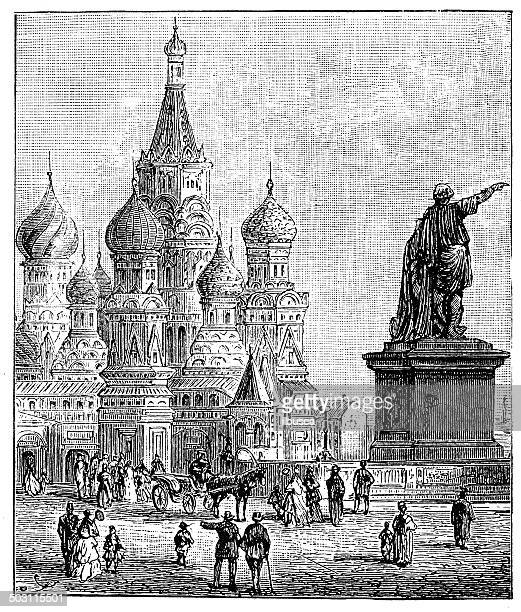 Antique illustration of Saint Basil's Cathedral, Moscow