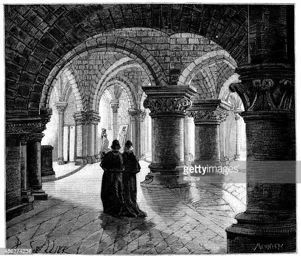 Antique illustration of Saint Denis Crypt