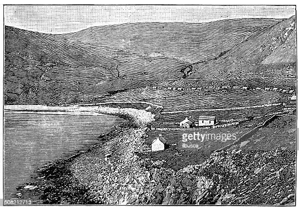 antique illustration of saint kilda landscape - st. kilda stock illustrations
