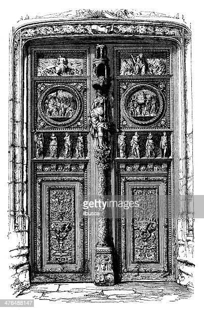 antique illustration of saint maclou main door, in rouen - rouen stock illustrations, clip art, cartoons, & icons