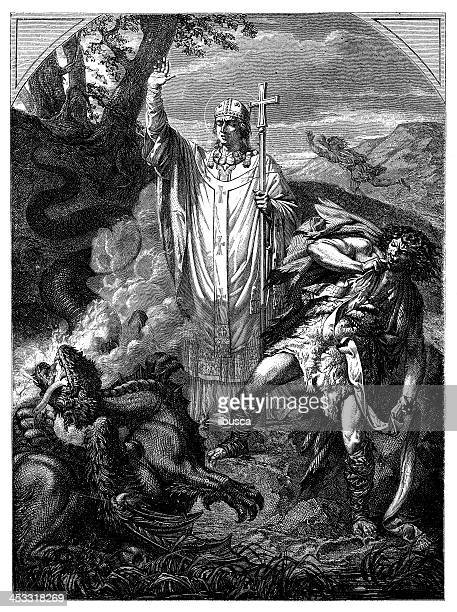 Antique illustration of Saint Romain or Romanus de Rouen