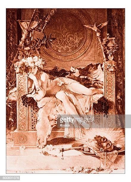 """Antique illustration of """"Salome triomphante"""" by Toudouze"""