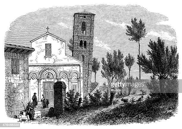 antique illustration of san michele degli scalzi - pisa stock illustrations, clip art, cartoons, & icons