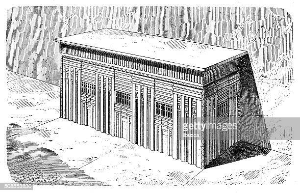 antique illustration of sarcophagus of menkaure pyramid - mycenae stock illustrations