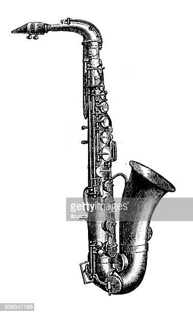 antique illustration of saxophone - saxaphone stock illustrations, clip art, cartoons, & icons