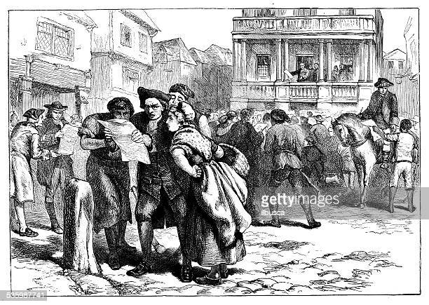 antique illustration of scene in boston - american revolution stock illustrations