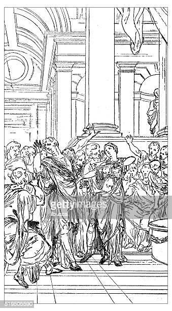 Antique illustration of scene of life of Catiline