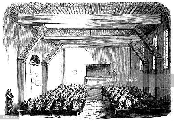 Antique illustration of school