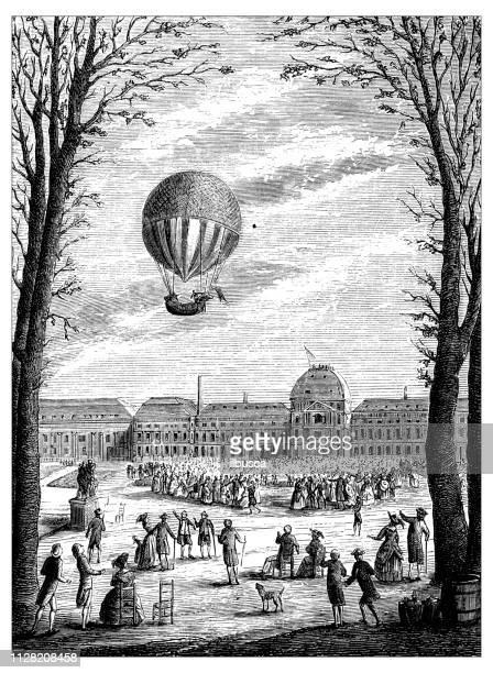 チャールズ ・ ロバート ・飛行船、熱気球、エアロスタットの科学的発見のアンティーク イラスト