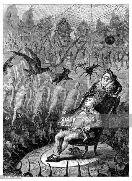 antike darstellung der wissenschaftlichen entdeckungen, anästhesie: alpträume - erfindung stock-grafiken, -clipart, -cartoons und -symbole