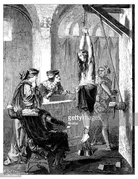 antique illustration of scientific discoveries, anesthesia: witch torture - female torture stock illustrations