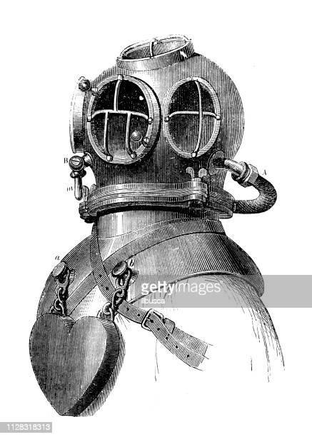 antique illustration of scientific discoveries: deep sea diving - diving stock illustrations