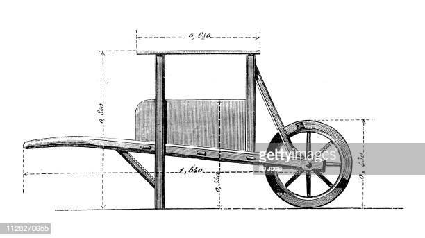 antique illustration of scientific discoveries: drainage tools - wheelbarrow stock illustrations, clip art, cartoons, & icons