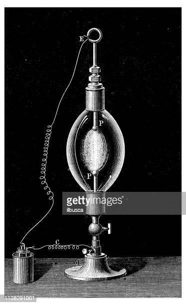 アンティークの科学的発見の図: 電気ランプ - 建築上の特徴 アーチ点のイラスト素材/クリップアート素材/マンガ素材/アイコン素材