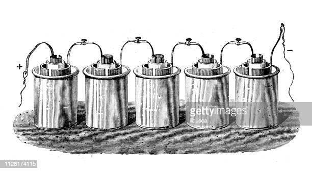 Antigua ilustración de descubrimientos científicos, la electricidad y el magnetismo: batería de Grove