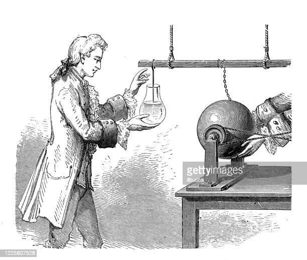 科学的発見、実験、発明のアンティークイラスト:電気機械、ムッシェンブローク - 発明家点のイラスト素材/クリップアート素材/マンガ素材/アイコン素材