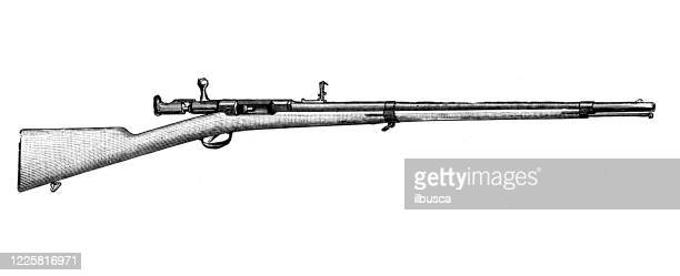 antique illustration of scientific discoveries, experiments and inventions: rifle - rifle stock illustrations