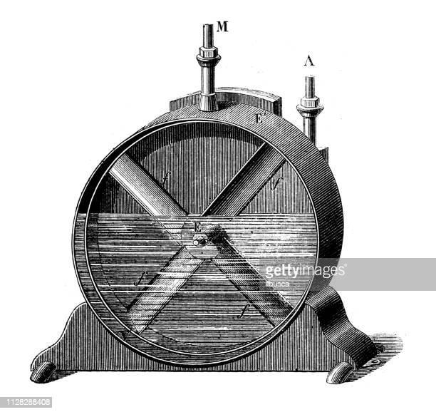 antique illustration of scientific discoveries: gas meter - gas meter stock illustrations, clip art, cartoons, & icons