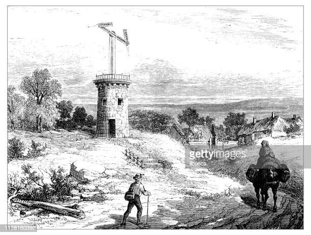 antique illustration of scientific discoveries: global communication and telegraph: chappe aerial telegraph - antenna aerial stock illustrations, clip art, cartoons, & icons