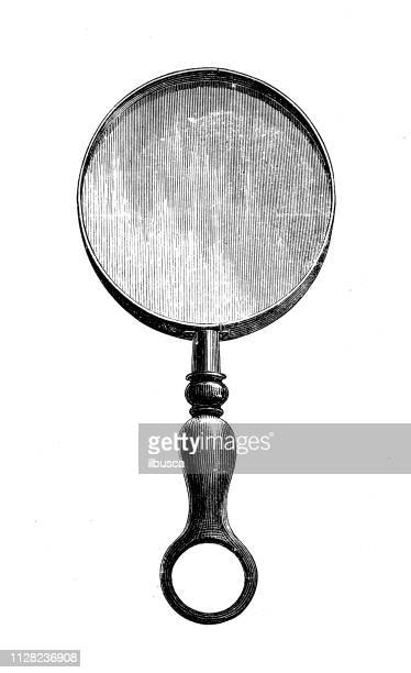 antique illustration of scientific discoveries, photography: magnifying glass - antique stock illustrations