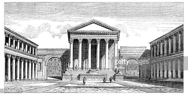 antique illustration of scientific discoveries: pompeii forum - roman forum stock illustrations