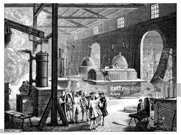 Antique illustration of scientific discoveries: Steam power industry machine