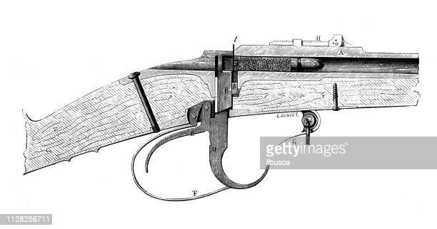 antique illustration of scientific discoveries: war weapons and explosives - bayonet stock illustrations