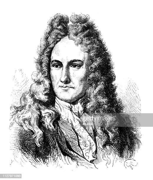 antique illustration of scientist: gottfried wilhelm leibniz - gottfried wilhelm leibniz stock illustrations