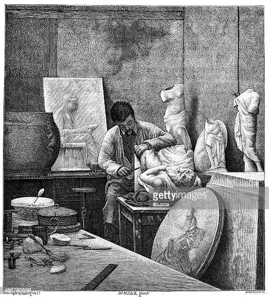 アンティークのイラストの彫刻家彼のスタジオ