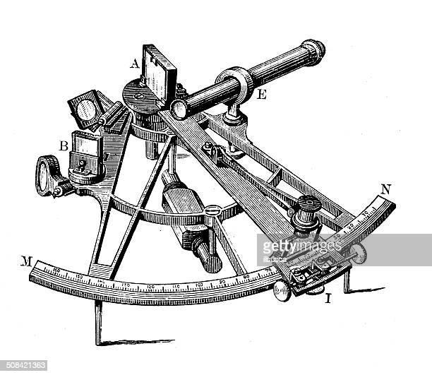 Antique illustration of sextant