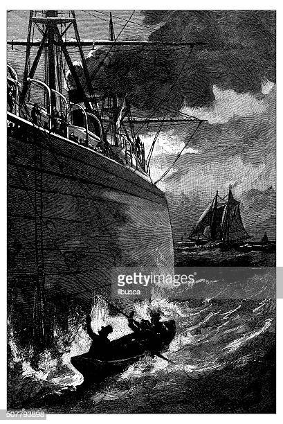 Antique illustration of ship and boat