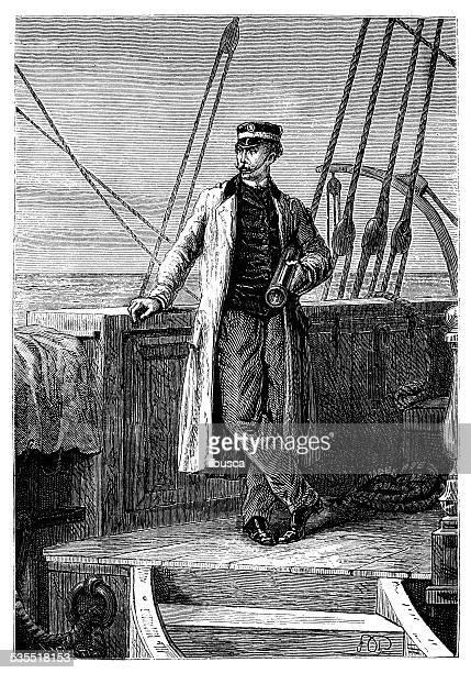 antique illustration of ship captain - boat captain stock illustrations, clip art, cartoons, & icons